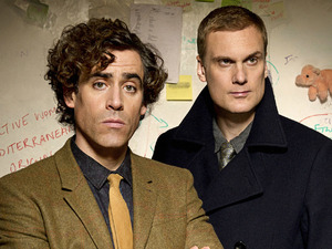 Stephen Mangan as Dirk Gently and Darren Boyd as Richard Macduff