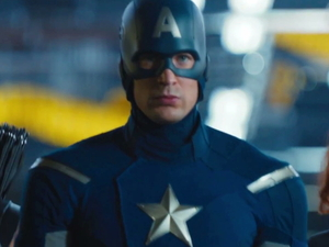 The Avengers trailer The first glimpse of Jeremy Renner's Hawkeye, who lines up alongside Captain America and Black Widow.