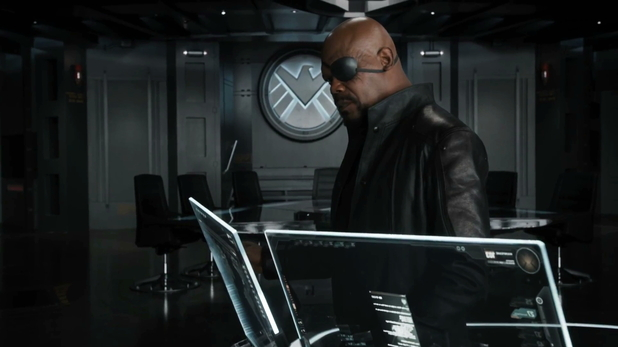 The Avengers trailer Nick Fury ponders the options for the future of mankind.