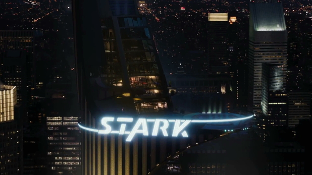 The Stark building lights up.