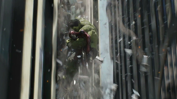 Hulk leaps in to Iron Man's rescue.