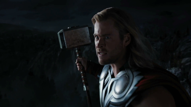 The Avengers trailer The Mighty Thor gets ready to swing his hammer.