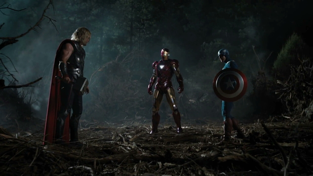 Thor, Iron Man and Captain America in full costume.