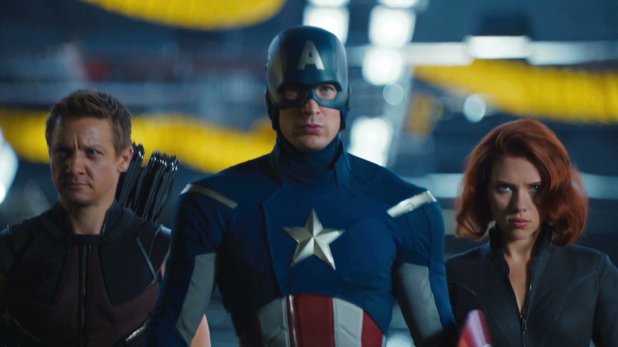 Hawkeye lines up alongside Captain America and Black Widow.