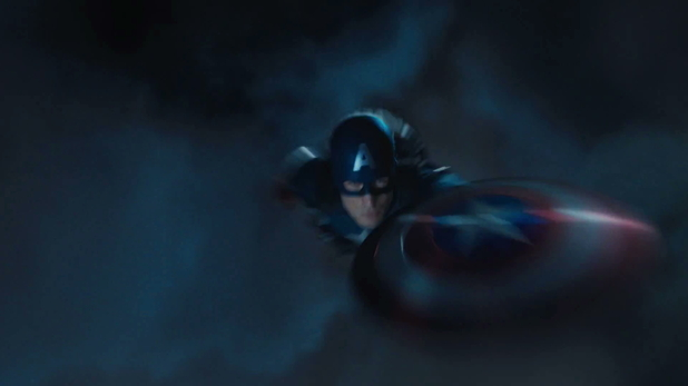 Captain America soars through the air.