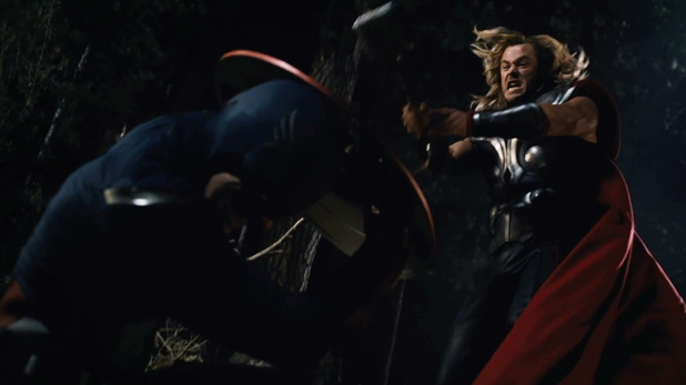 Thor leaps at Captain America