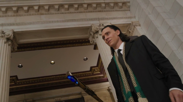 Tom Hiddleston returns as the villainous Loki.