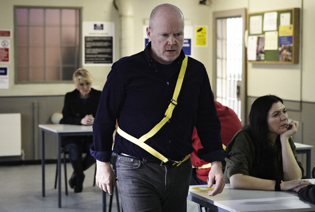 Phil Mitchell (Steve McFadden) storms off from Shirley Carter (Linda Henry) at the prison
