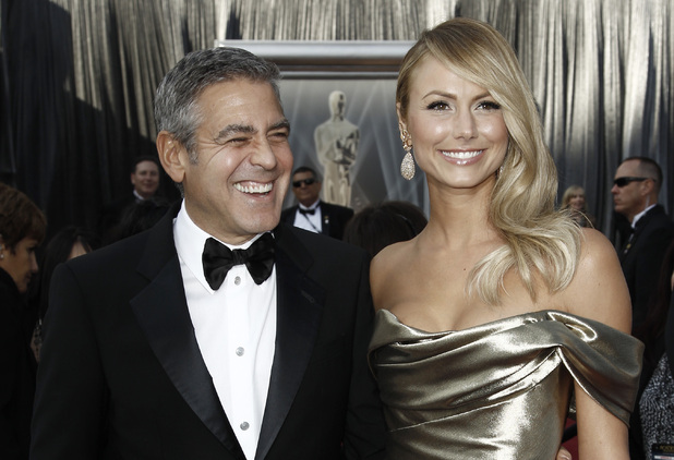 George Clooney and Stacy Keibler at the Academy Awards 2012