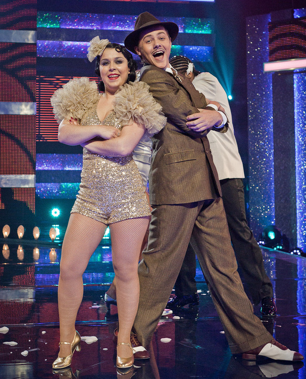 "Tyger Drew Honey and Dani Harmer perform to Bugsy Malone ""Fat Sams Grand Slam""."