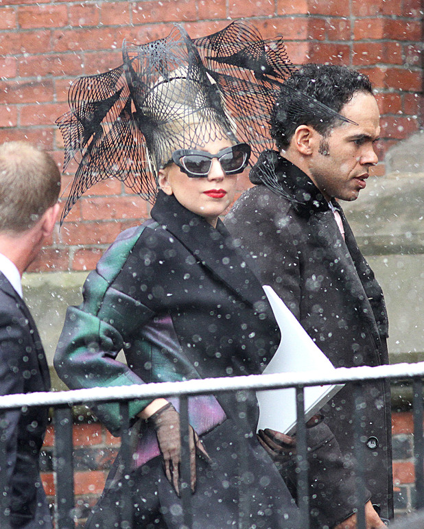 Lady Gaga arriving at Harvard University for the launch of the 'Born This Way Foundation' Cambridge, Massachusetts