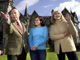 Scottish Secretary Helen Liddell meets cast-members Julian Fellows, Dawn Steele and Susan Hampshire during a visit to the set of the BBC series Monarch of the Glen