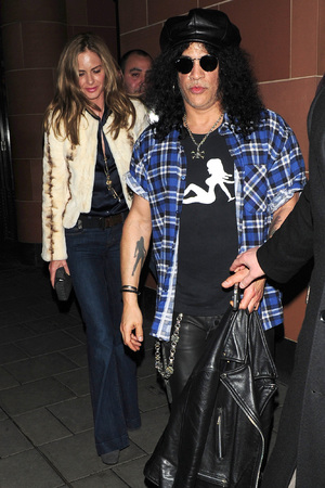Slash (real name Saul Hudson) and Trinny Woodall seen leaving C Restaurant London London