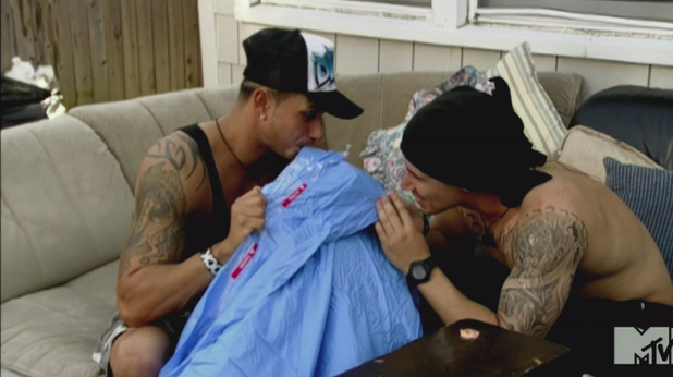 Paul 'Pauly D' DelVecchio and Vinny Guadagnino MTV's 'Jersey Shore' Season 5, Episode 10 One Meatball Stands Alone: A huge fight breaks out after Mike tells Jionni he hooked up with Snooki; Deena faces a difficult truth about Joey; some of the roommates go camping while Pauly and Vinny pull off a big prank
