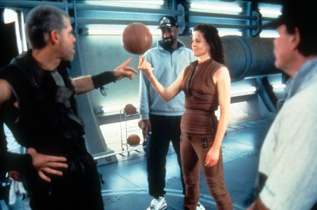 Sigourney Weaver plays basketball