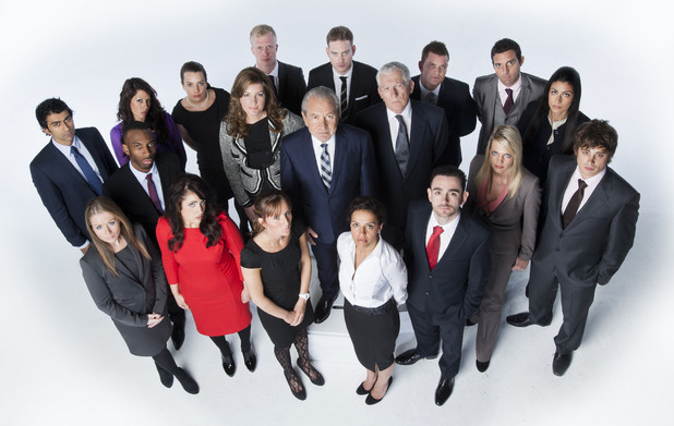 The Apprentice -   Karren Brady, Lord Sugar, Nick Hewer with the candidates