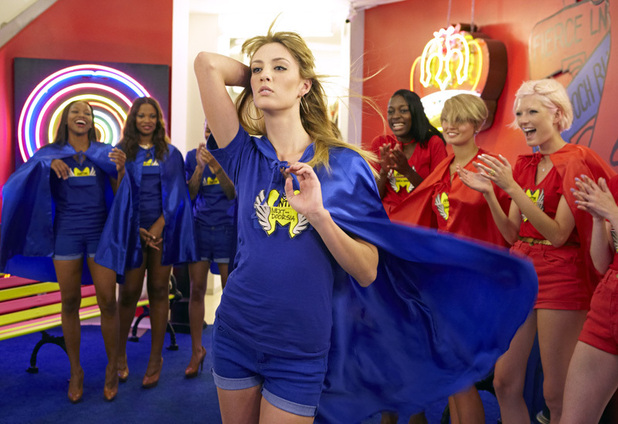 ANTM Brit Invasion Episode 3 - 'Cat Deeley' - Candace, Seymone, Kyle (foreground), Alisha, Louise and Sophie