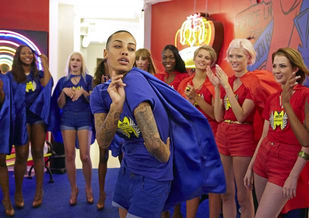ANTM Brit Invasion Episode 3 - 'Cat Deeley' - Seymone, Laura, Azmarie (foreground), Kyle, Alisha, Louise, Sophie and Ashley