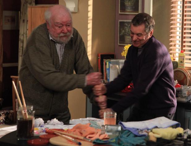 Sandy Thomas (Freddie Jones) falls in an argument with Ashley Thomas (John Middleton)