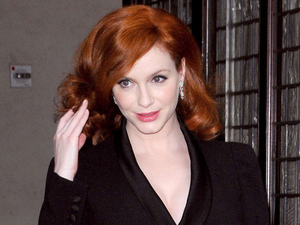 Christina Hendricks leaving her hotel in Manhattan New York City