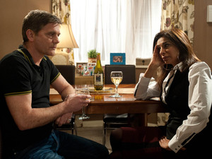 With nowhere to go, Karl visits Sunita. He admits that he gambled all her money too, but she listens to his problems as they both reflect on their relationships