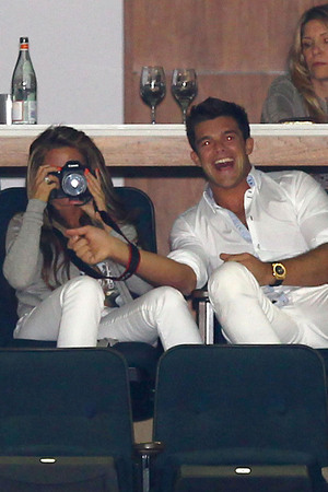 Katie Price and Leandro Penna in a private box during the HPA Gaucho International Polo at O2 Arena. London, England