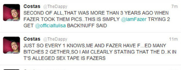 Dappy twitter post about Tulisa sex tape