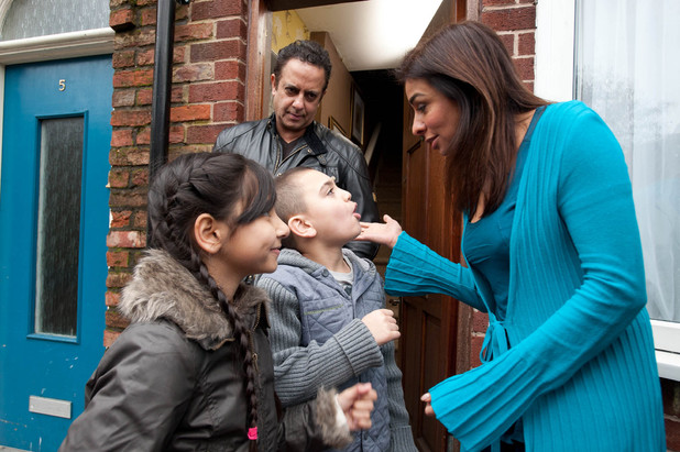 Sunita says goodbye to Dev and the kids