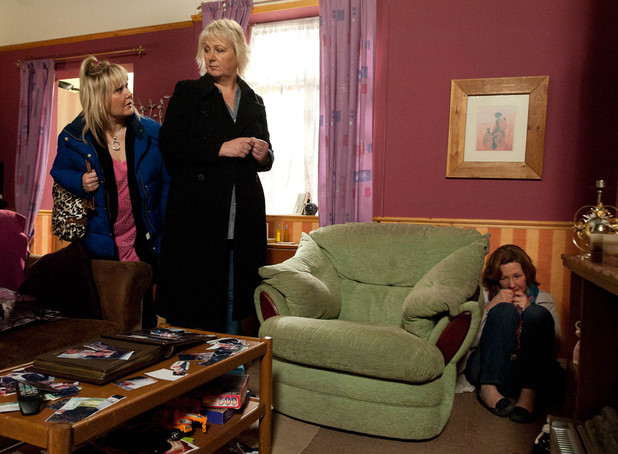 Eileen Grimshaw (Sue Cleaver) and Beth Tinker (Lisa George) find Lesley Kershaw (Judy Holt) crouched alone on the floor.