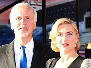 James Cameron and Kate Winslet arriving for the World Premiere of Titanic 3D, at the Royal Albert Hall