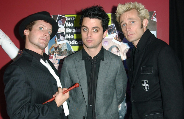 Tre Cool, Billie Joe Armstrong and Mike Dirnt from punk rock group Green Day