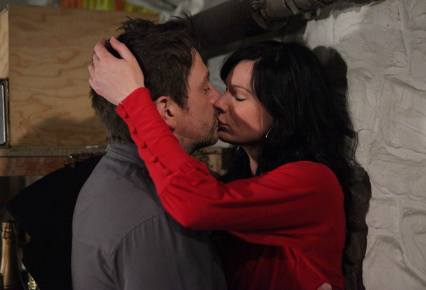 Emmerdale - Chas Dingle (Lucy Pargeter) and Cameron Murray (Dominic Power) get passionate