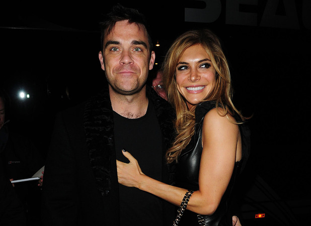 Robbie Williams and wife Ayda Field arrive at the Opera House Manchester to watch the Pantomime 'Pantos on Strike' featuring Robbie's best friend Jonathan Wicks. Manchester, England - 16.11.10 Mandatory Credit: Steve Searle/WENN.com
