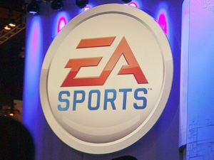 Attendees line up at the Electronic Arts booth
