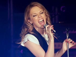 Kylie Minogue performs on stage during the opening night of her Anti-Tour UK tour at Manchester Academy. Manchester