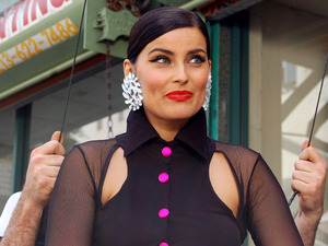 Nelly Furtado filming a music video in Downtown Los Angeles