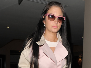 Tulisa Contostavlos leaving her hotel London