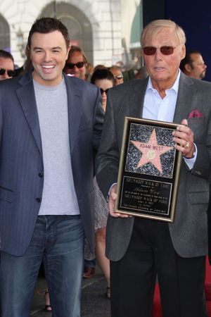 Adam West is joined by Seth MacFarlane to unveil his star on the Hollywood Walk of Fame