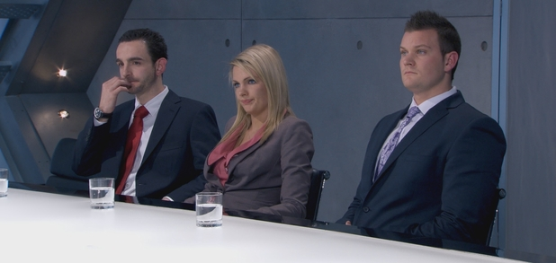 Michael, Katie and Ricky in the boardroom in The Apprentice S08E03