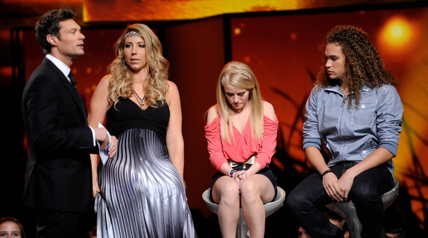 Ryan Seacrest and the bottom 3 contestants Elise Testone, Hollie Cavanagh and DeAndre Brackensick on American Idol