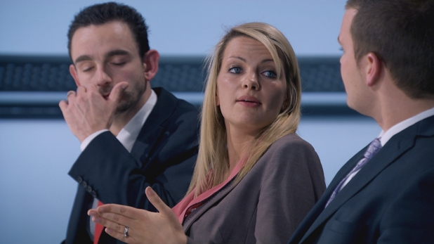 Katie and Ricky disagree in the boardroom in The Apprentice S08E03