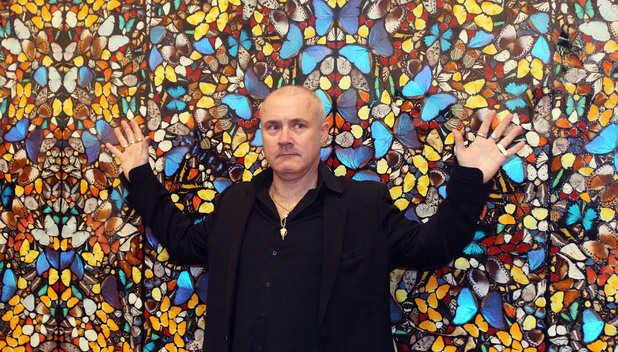 The Artist with his piece I Am Become Death, Shatterer of Worlds (2006), Damien Hirst