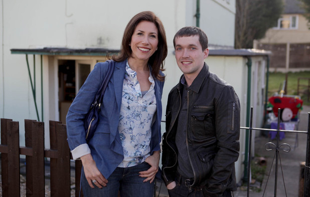 Megan Macey (Gaynor Faye) and Robbie (Jamie Shelton) from Emmerdale