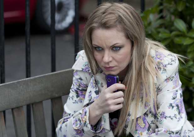 Roxy is anxious when Derek answers Alfie&#39;s phone.