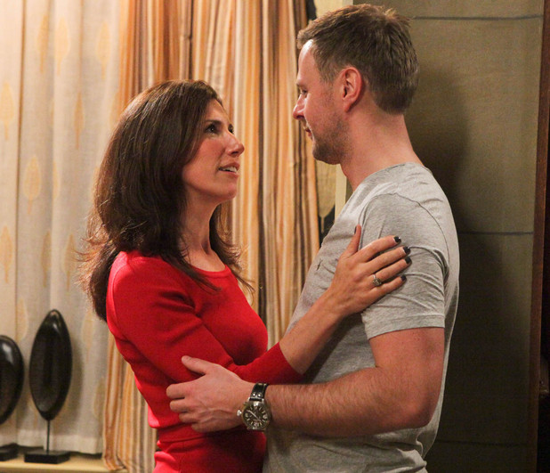 Emmerdale - Megan Macey (Gaynor Faye) and Carl King (Tom Lister)