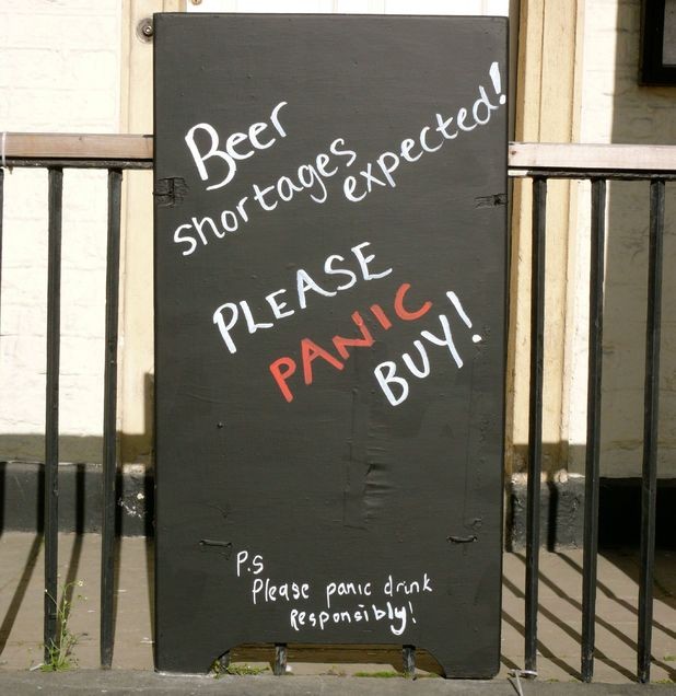 'Beer Shortages' sign outside the White Hart pub in Calne, Wiltshire Panic buying
