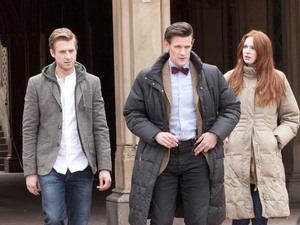 Arthur Darvill, Matt Smith and Karen Gillan on location in Central Park, filming another episode of &#39;Doctor Who&#39;