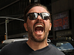 Ricky Gervais Celebrities arrive at The Ed Sullivan Theater to appear on, 'The Late Show with David Letterman' New York City