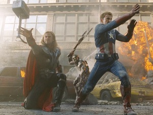Thor and Captain America battle in The Avengers