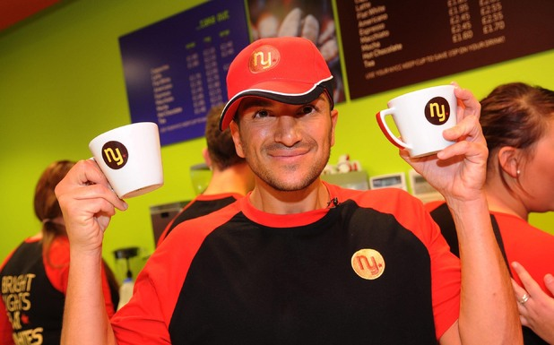 Peter Andre launches his first coffee shop in East Grinstead, West Sussex, Britain